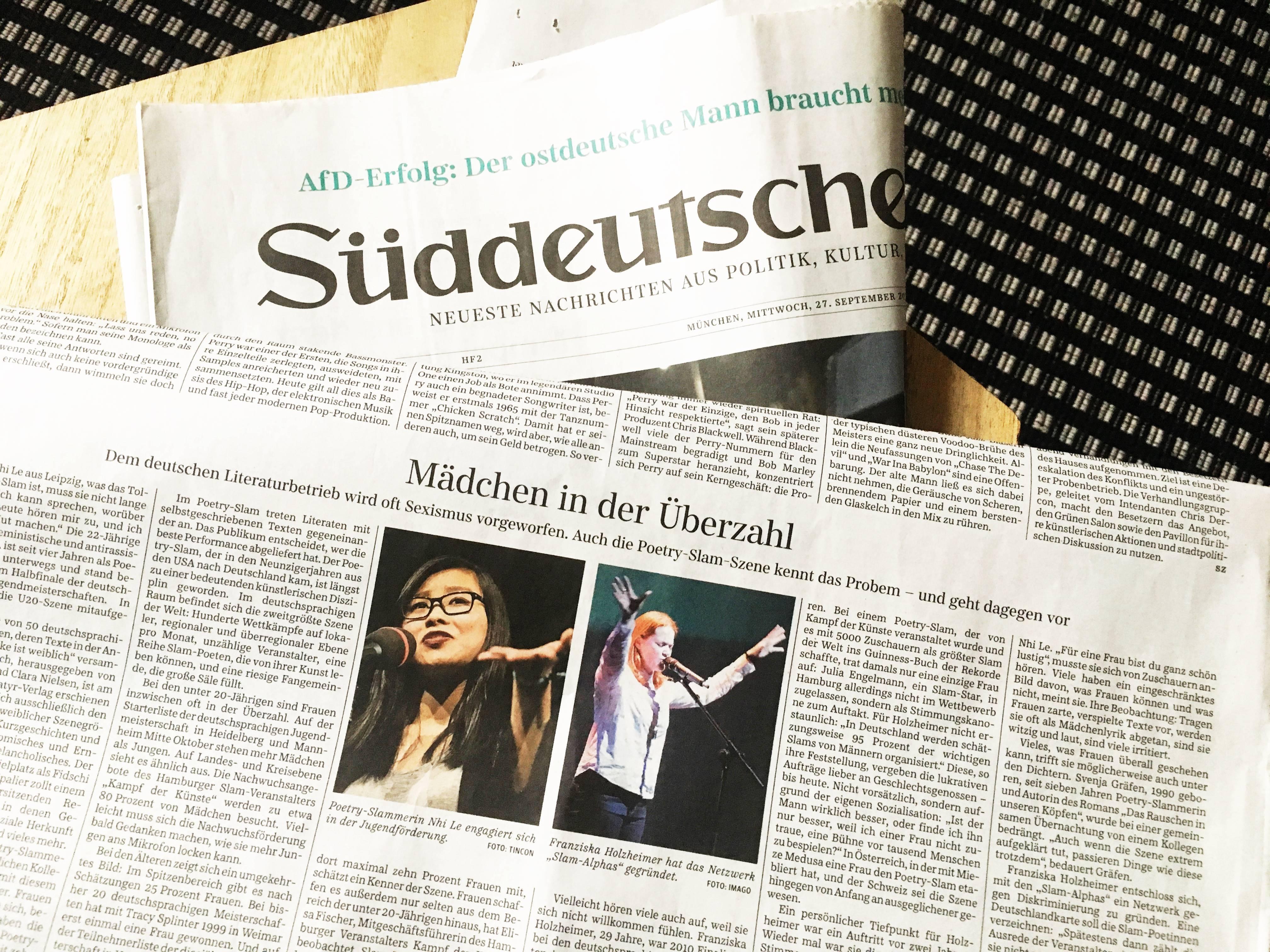 Über Sexismus im Slam für Süddeutsche Zeitung